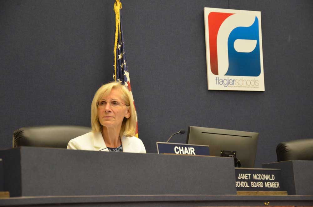 School Board Chair Janet McDonald says she had asked for an invocation to be placed on the agenda prior to the August meeting. School Board Attorney Kristy Gavin and Superintendent Jim Tager said she had not asked them. (© FlaglerLive)