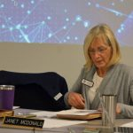 Janet McDonald has on several occasions used her school board seat to disseminate false, misleading or inaccurate information about Covid-19. She did so again on Tuesday. (© FlaglerLive)