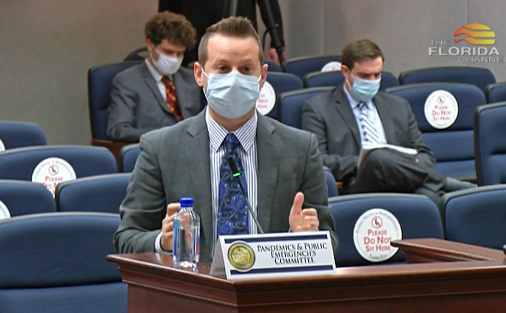 Florida Division of Emergency Management Director Jared Moskowitz addressing the the newly created House Pandemics and Public Emergencies Committee today. (House video via Florida Channel)