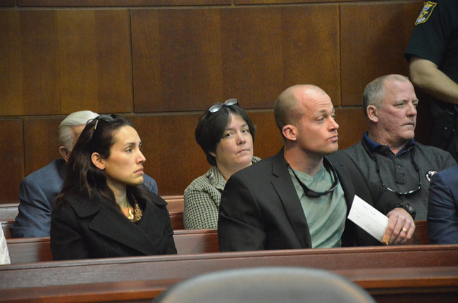 Jared Parkey, in the first row to the right, was at the sentencing of his assailant, Nathaniel Juartovac, last January. Days later, Parkey was charged with a felony. (© FlaglerLive)