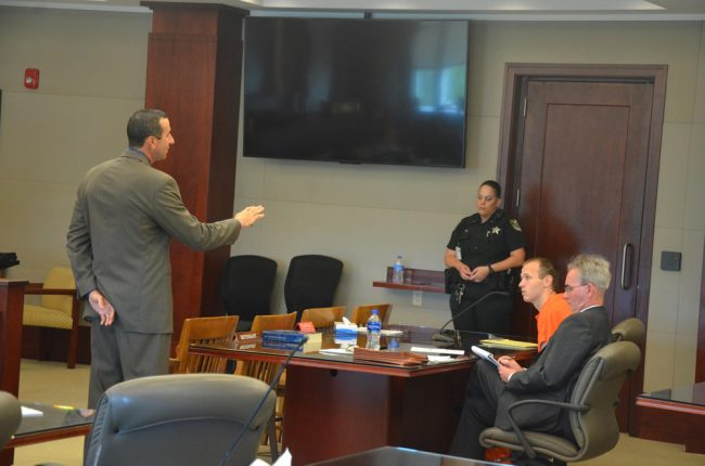 Assistant State Attorney Jason lewis was withering in his cross-examination of McDevitt, as McDeviott's attorney (© FlaglerLive)