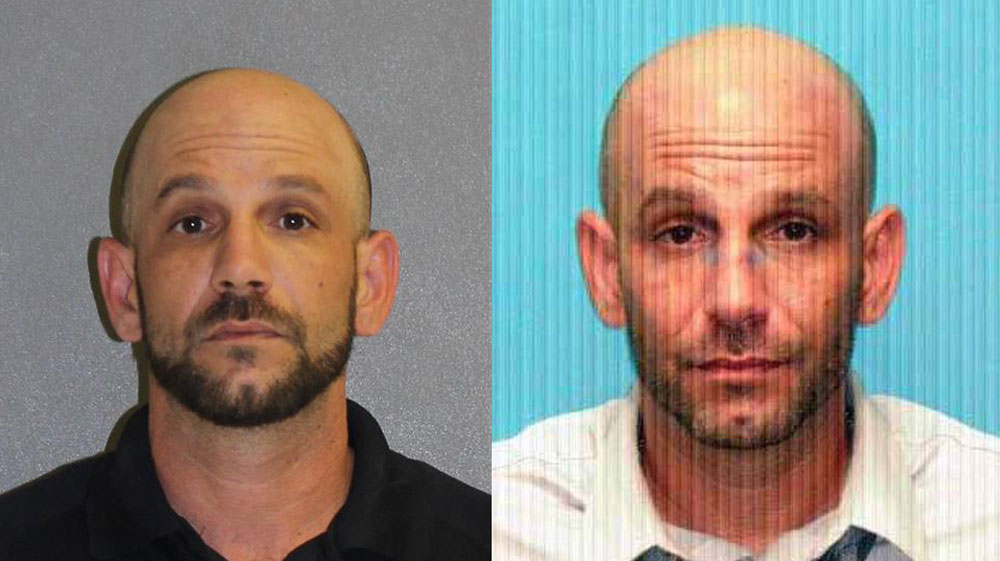 Jason Minton, left, after an arrest in 2018 for battery, and in his state prison mugshot, when he served two separate stints for a sex offense involving a minor.