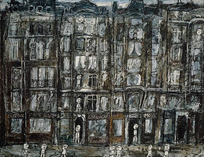 Jean Dubuffet's 'Apartment Houses' (1946). This painting, part of yet another series of some fourteen oils and gouaches, focuses on pedestrians in various back alleys of Paris. Emulating the features of Art Brut, Dubuffet intentionally adopted a crude style. The street, sidewalks, and houses are stacked in rows, one above the other, without perspective, depth, or modeling. Windows and shop signs are stuck at random onto facades. The overall effect evokes the backdrop of a puppet theater, such as Dubuffet himself had built and decorated during his previous interlude as a painter (1934–37), when he also carved and painted marionettes.'