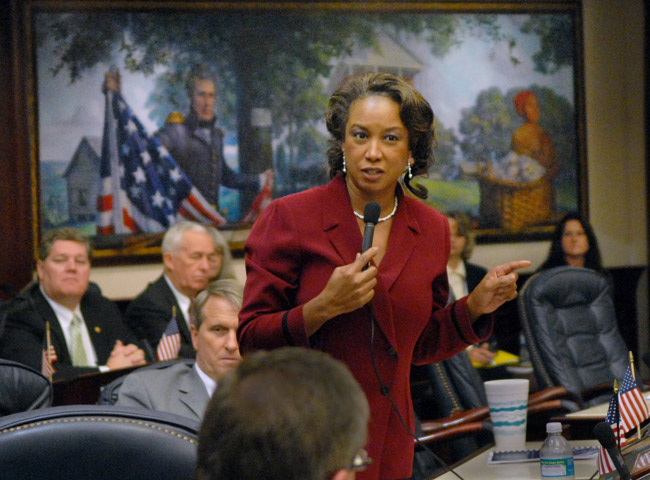 Jennifer Carroll during the 2009 legislative session. Her political career is all but over, barring a Nixon act. (Mark Foley)