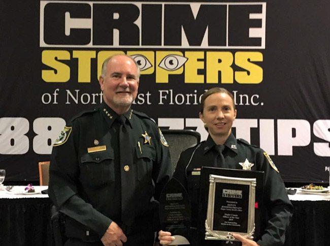 Flagler Sheriff's deputy Jennifer Prevatt with Sheriff Rick Staly. (FCSO)