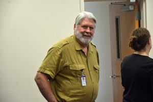 County Manager Jerry Cameron at a news conference this morning at the EOC. (© FlaglerLive)