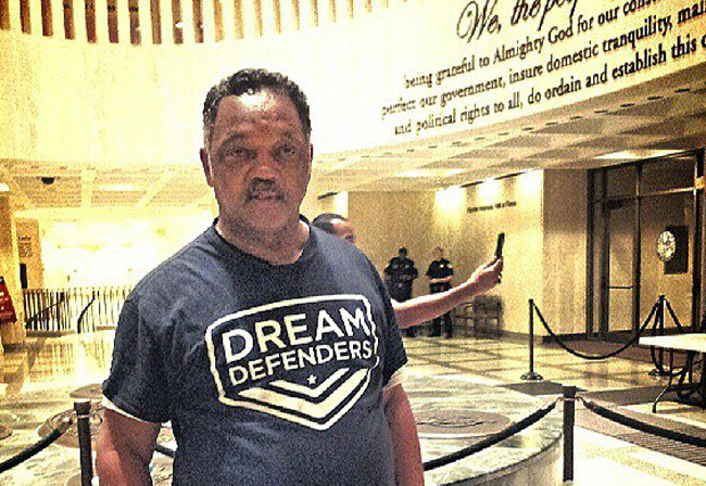 Jesse Jackson visiting the Dream Defenders at Tallahassee's Capitol early today. (Facebook)