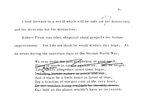 draft of JFK's speech on the arts at Amherst College, 6