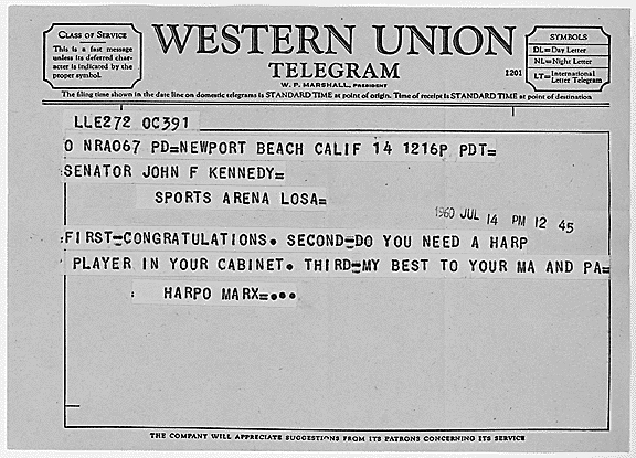 harpo mark telegram to john f. kennedy jfk 1960