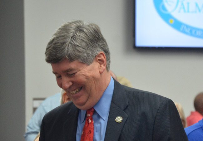 Palm Coast City Manager Jim Landon is setting the agenda for his replacement at most turns. (© FlaglerLive)