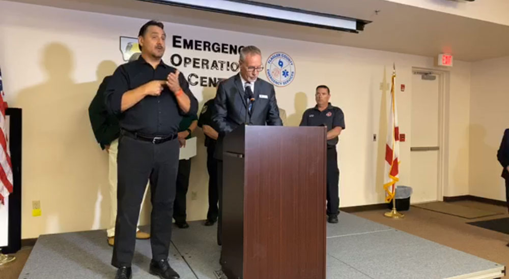 Superintendent Jim Tager speaking at a news conference this morning. (Flagler County via Facebook.)