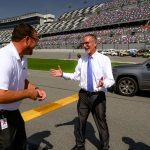Superintendent Jim Tager, right, with Chip Wile, president of Daytona International Speedway, Sunday. (Flagler Schools)