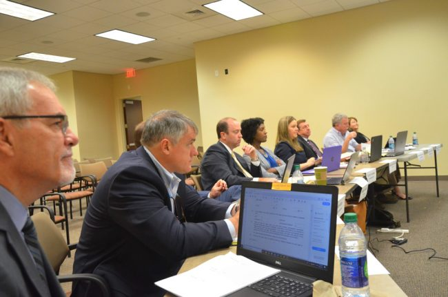 The Judicial Nominating Commission during interviews Wednesday. Matthew Cline, second from left, grilled Manfre. (© FlaglerLive)