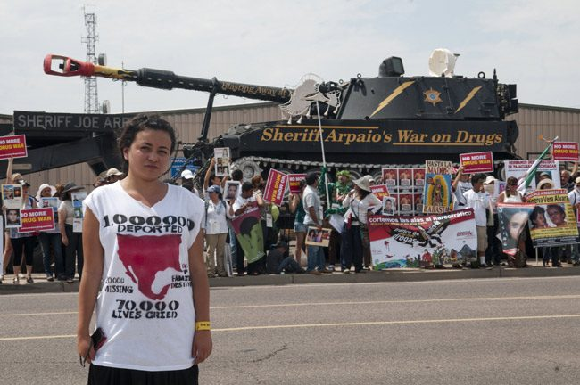 A protester of Joe Arpaio's wars. (Caravan 4 Peace)