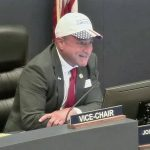 Flagler County Commissioner Joe Mullins at the commission this evening. (© FlaglerLive via Flagler County TV)