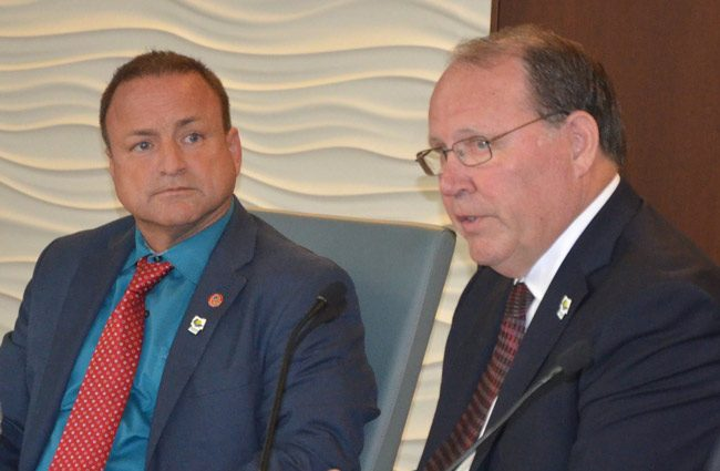 Joe Mullins, left, and Greg Hansen have spent money on their election campaigns as no previous candidate for the Flagler County Commission ever had. (© FlaglerLive)