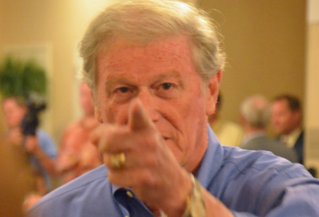 John Thrasher was not a happy camper Monday at FSU. (© FlaglerLive)