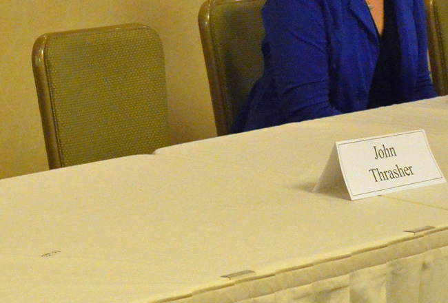 Sen. John Thrasher was a no chow at last night's candidate forum at Palm Coast's Hilton Garden Inn. (© FlaglerLive)