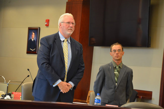 Jonathan Canales, right, with his attorney, Garry Wood. (c FlaglerLive)
