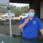 Flagler County Emergency Management Chief Jonathan Lord at the County Fairgrounds vaccination site on Saturday. (© FlaglerLive)