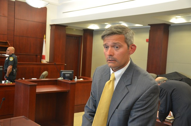 Joshua Knight, in one of several court appearances over the past year and a half in cases against Flagler County and Palm Coast. (© FlaglerLive)