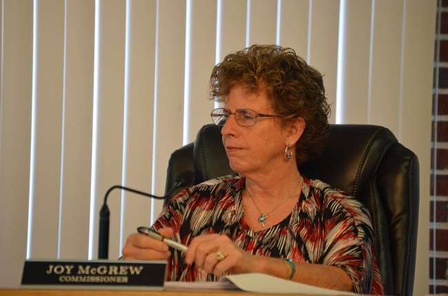 Flagler Beach City Commissioner Joy McGrew was in no mood to leave unanswered another broadside against the city's attitude toward business. (© FlaglerLive)