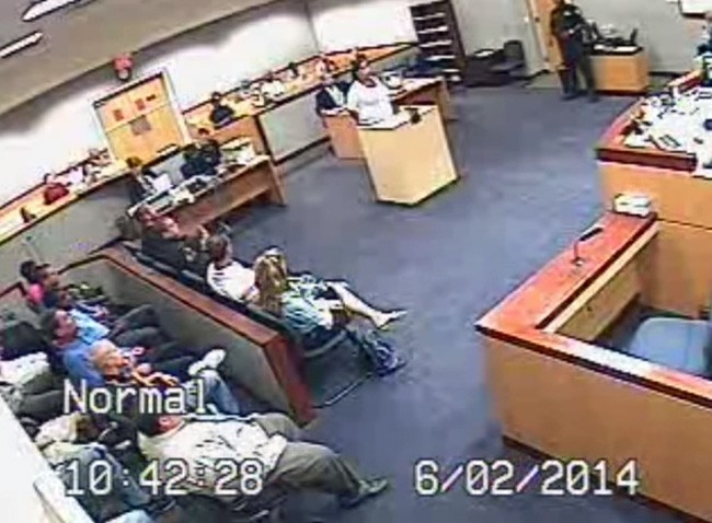 Judge Judge John C. Murphy's courtroom the day of the brawl, from a video below.