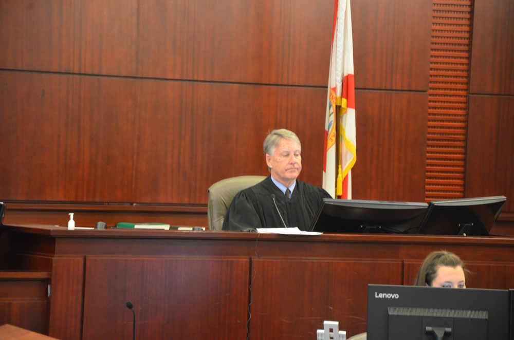 Circuit Judge Terence Perkins presides over felony court in Flagler County. Judges would have more discretion in certain drug-trafficking cases when imposing sentence, if a bill set to pass the Senate is also approved in the Florida House and becomes law. (© FlaglerLive)