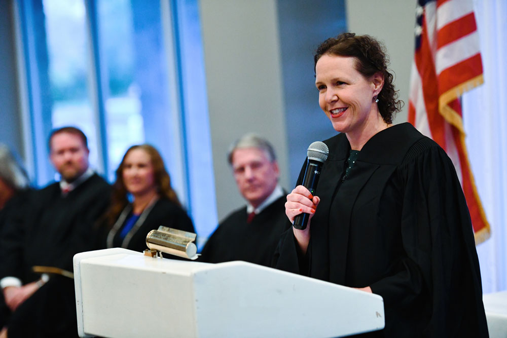 Newly robed Flagler County Judge Andrea Totten at her investiture Friday. (AJ Neste)