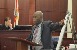 Junior Barrett, Dorothy Singer's attorney, during closing arguments. (c FlaglerLive)