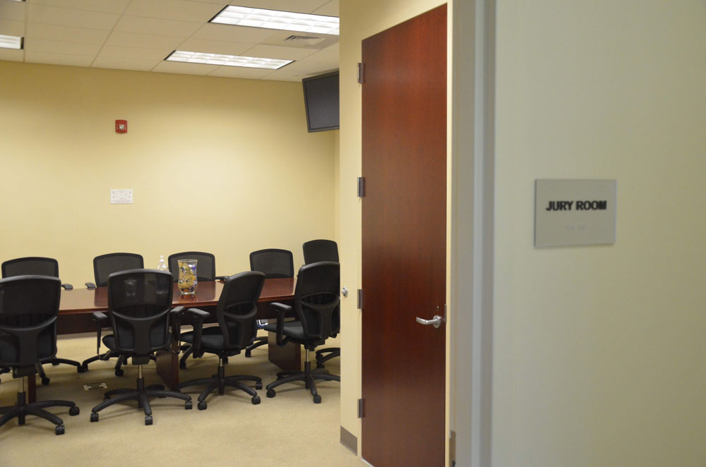 A jury room at the Flagler County courthouse. It will not be used for that purpose at least until June. (© FlaglerLive)