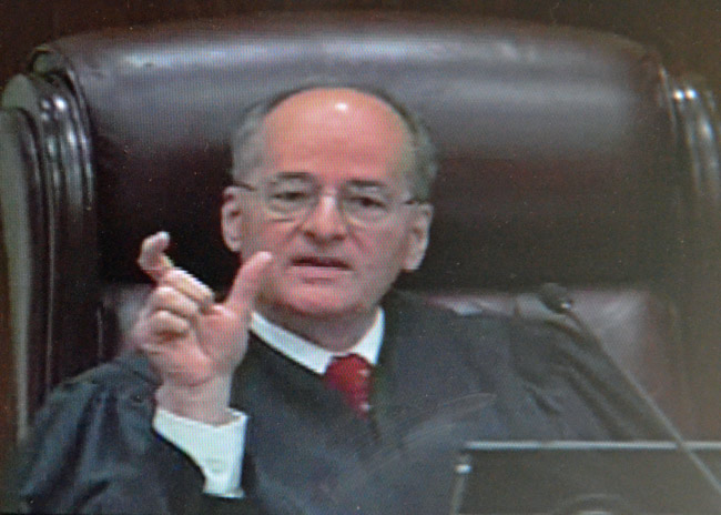 Justice Charles Canady was the strongest critic of pre-2010 red-light camera systems in Florida in today's arguments before the Supreme Court. (Supreme Court video capture)