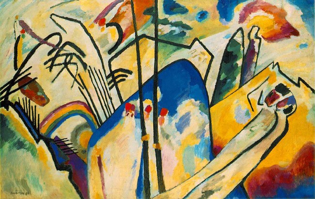 "Kandinsky's Composition IV, 1911. From WikiArt: ""An interesting story that indicates Kandinsky's intellectual examination in the creation of his works revolves around this composition. He became exhausted during the months of studying he went through in preparation for this painting, and decided to go for a walk. His assistant at the time, Gabrielle Munter, who was tidying up the studio in the artist's absence, inadvertently turned the canvas on its side. Upon Kandinsky's return, he saw the canvas, fell to his knees and began weeping at the beauty of the painting. His newly found perspective on the piece would change his artistic vision and direction for the rest of his life."""