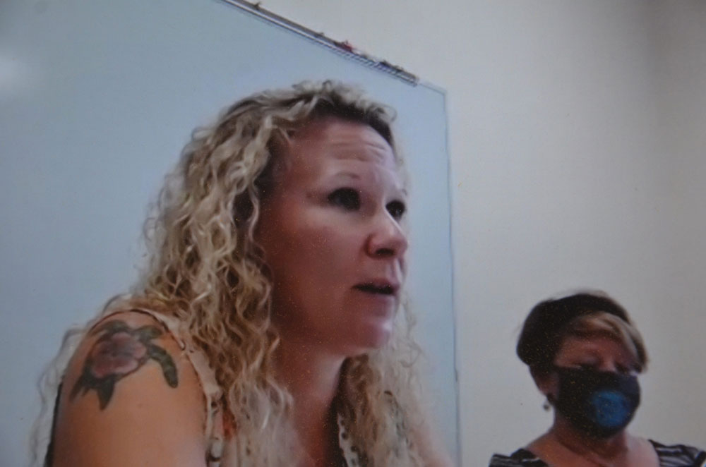 Katie Hansen, president of the Flagler County Education Association, during a bargaining session with the district's management team on Tuesday. Many employees attended by Zoom. (© FlaglerLive)