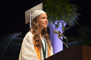 Katie Young delivered the Commencement Address. Click on the image for larger view. (© FlaglerLive)