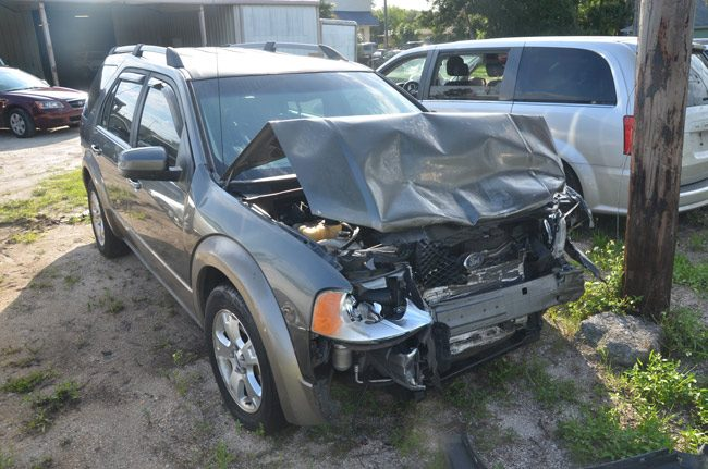 The Ford SUV Keefe Crawford drove into an oncoming car on State Road A1A in Flagler Beach, in a suicide attempt on June 9. (© FlaglerLive)