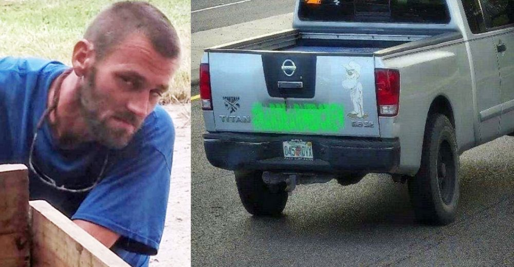 Kelsey Anderson, left, who is wanted by law enforcement, and his truck, a Nissan. (FCSO)