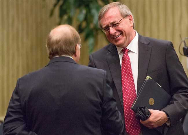 ornell Provost Kent Fuchs (right) greets Presidential Search committee member Bill Heavener before Fuchs's interview on Tuesday morning for the UF President Search.