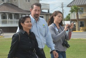 From left, County Engineer Faith al-Khatib, County Administrator Craig Coffey, and Darbi Ellis of the tourism office this morning on the Barrier Island. Click on the image for larger view. (c FlaglerLive)