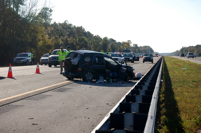 The Kia Sportage was one of two vehicles involved in the Sunday morning wreck on I-95. (© FlaglerLive)