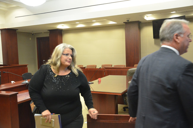 Kimberle Weeks leaving court this afternoon. (© FlaglerLive)