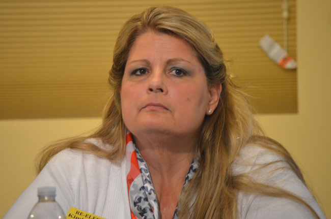 Never done: Kimberle Weeks at a candidate forum when she was running for re-election two years ago. (© FlaglerLive)