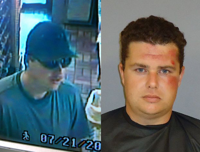 Aaron Kinney as he was carrying out one robbery last July in Palm Coast, and after his arrest and booking at the Flagler County jail.