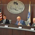 Palm Coast City Council member Nick Klufas, who chaired Wednesday's public hearing, repeatedly attempted to correct misconceptions about the city's tax rate and the size of its budget, with limited success. (© FlaglerLive)
