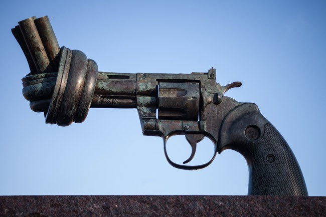 'The Knotted Gun,' a sculpture by Swedish artist Carl Fredrik Reuterswärd, dates from the early 1980s and was inspired by the shooting death of John Lennon outside the Dakota in Manhattan by Mark David Chapman. The government of Luxembourg gifted the sculpture to the United Nations in new York in 1988. (Håkan Dahlström)
