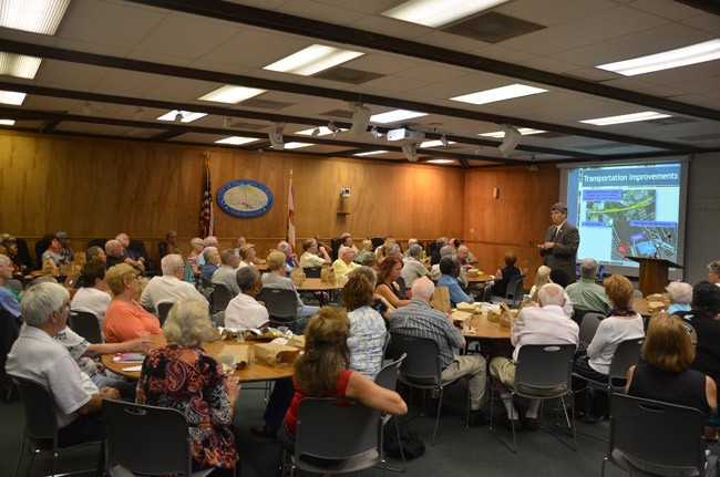 Some 90 people turned up for Palm Coast City Manager Jim Landon's Lunch 'n Learn presentation at the Community Center this morning. (© FlaglerLive)