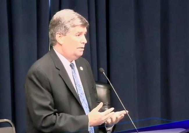 Palm Coast City Manager Jim Landon addressing the school board Tuesday evening.