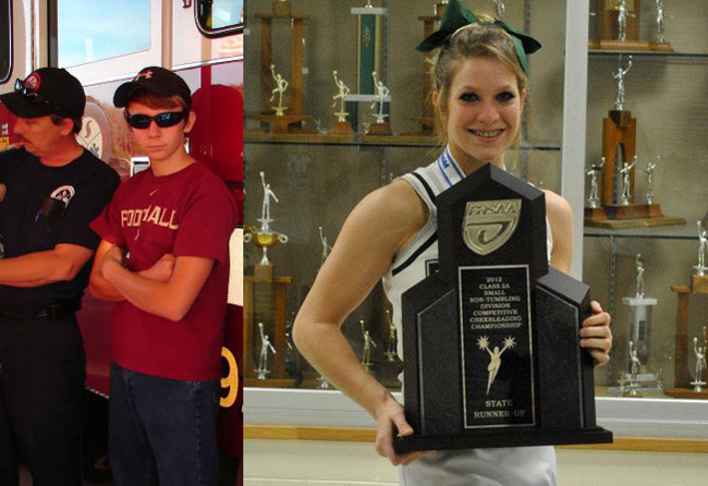 Lane Burnsed, center, with his father, Jamey Burnsed, a captain with Flagler County Fire Rescue, and Meredith Smith, a student and cheerleader at Flagler Palm Coast High School.