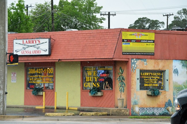 Larry's Guns and Ammo is in the center of Bunnell. (c FlaglerLive)