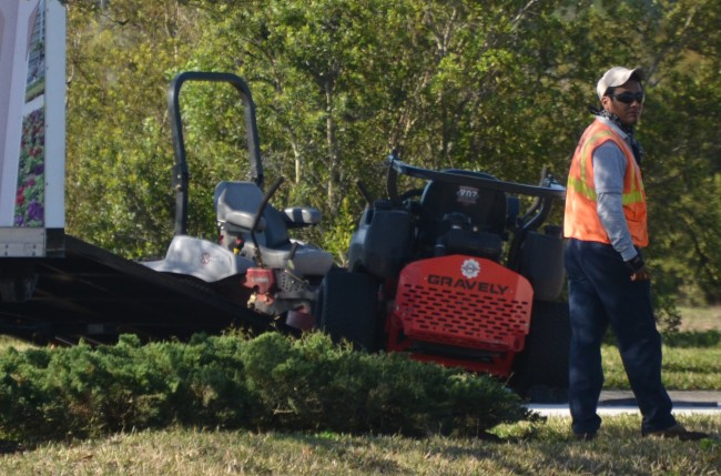 The lawnmower that was also involved in the morning's wreck. Click on the image for larger view. (© FlaglerLive)